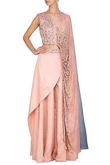Dusty Peach Embroidered Sharara Set by Ruceru Couture