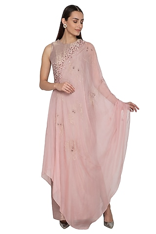 Dust Pink & Victorian Grey Embroidered Draped Dress by Ruceru Couture