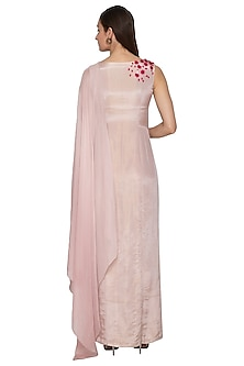 Dull Lilac Embroidered Draped Dress by Ruceru Couture