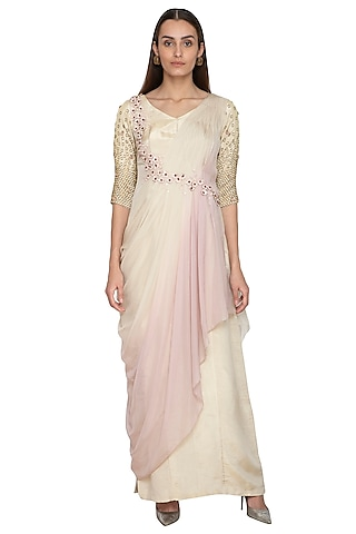 Cream & Lilac Embroidered Draped Dress by Ruceru Couture