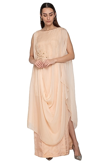 Peach Embroidered Draped Dress by Ruceru Couture