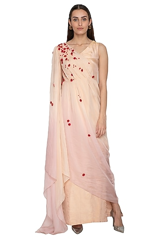 Peach & Lilac Embroidered Draped Dress by Ruceru Couture