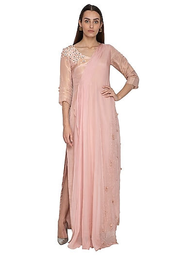 Blush Pink Embroidered Draped Dress by Ruceru Couture