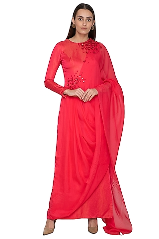 Crimson Red Draped Saree Dress by Ruceru Couture