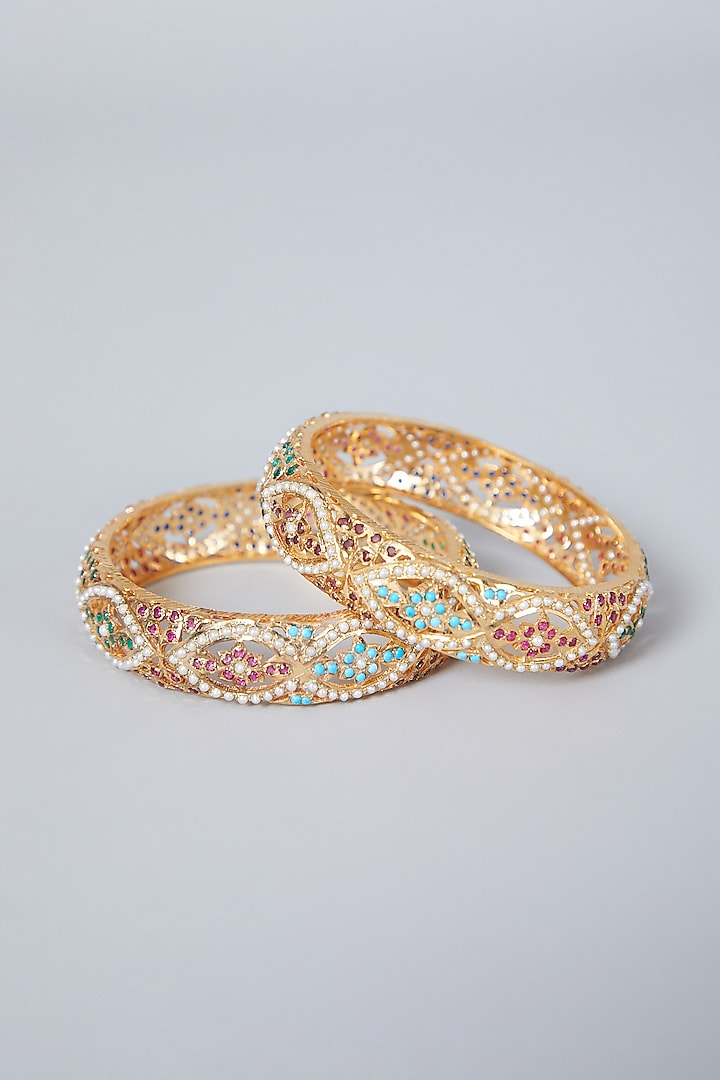 Gold Plated Navratna Stone Bangles In Sterling Silver by Rudradhan