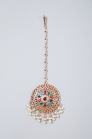 Gold Plated Navratna Stone Maang Tikka In Sterling Silver by Rudradhan