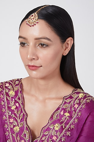Gold Plated Ruby & Pearl Maang Tikka In Sterling Silver by Rudradhan
