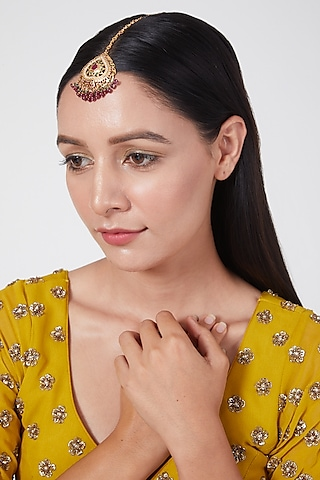 Gold Plated Synthetic Stone Maang Tikka In Sterling Silver by Rudradhan