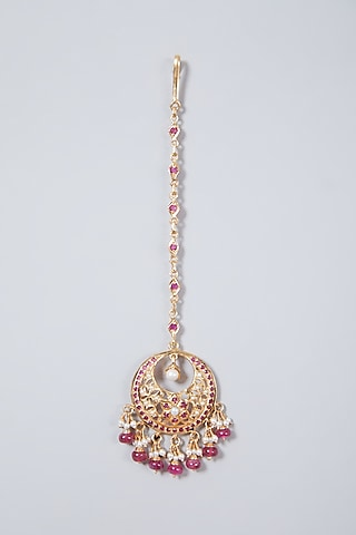 Gold Plated Red Stone Maang Tikka In Sterling Silver by Rudradhan