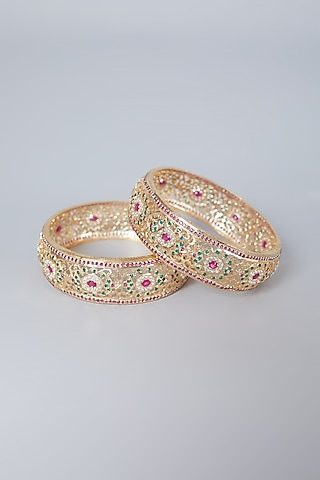 Gold Plated Red Stone & Pearl Bangles In Sterling Silver by Rudradhan