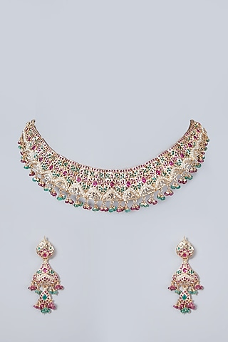 Gold Plated Synthetic Stone & Pearl Necklace Set In Sterling Silver by Rudradhan