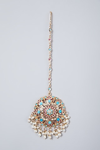 Gold Plated Pearl & Beaded Maang Tikka In Sterling Silver by Rudradhan