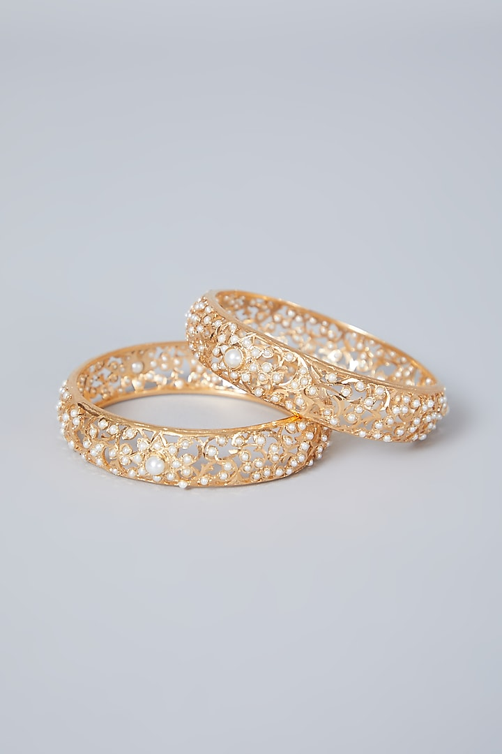 Gold Plated Pearl Jadau Bangles In Sterling Silver by Rudradhan