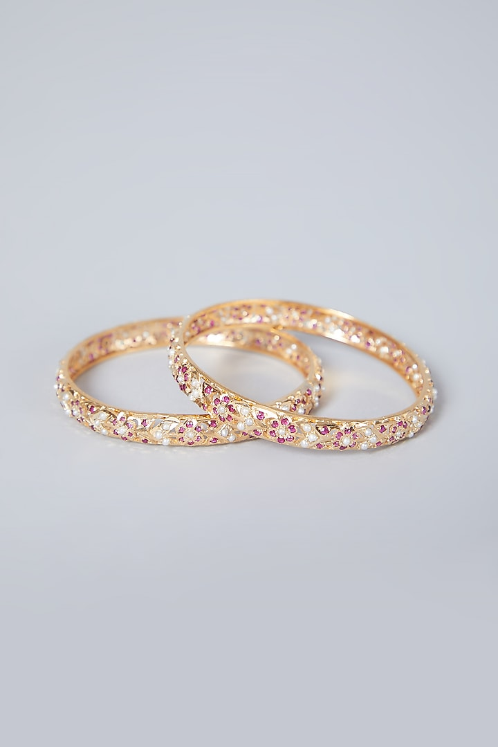 Gold Plated Pearl Bangles In Sterling Silver by Rudradhan