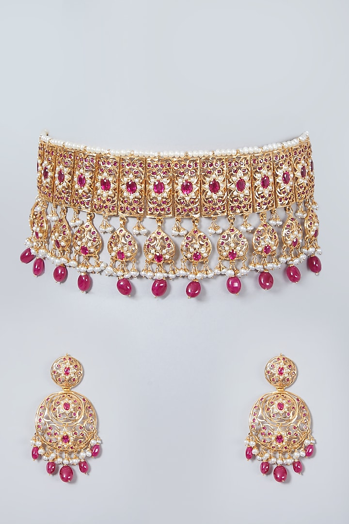 Gold Plated Pearl Choker Necklace Set In Sterling Silver by Rudradhan
