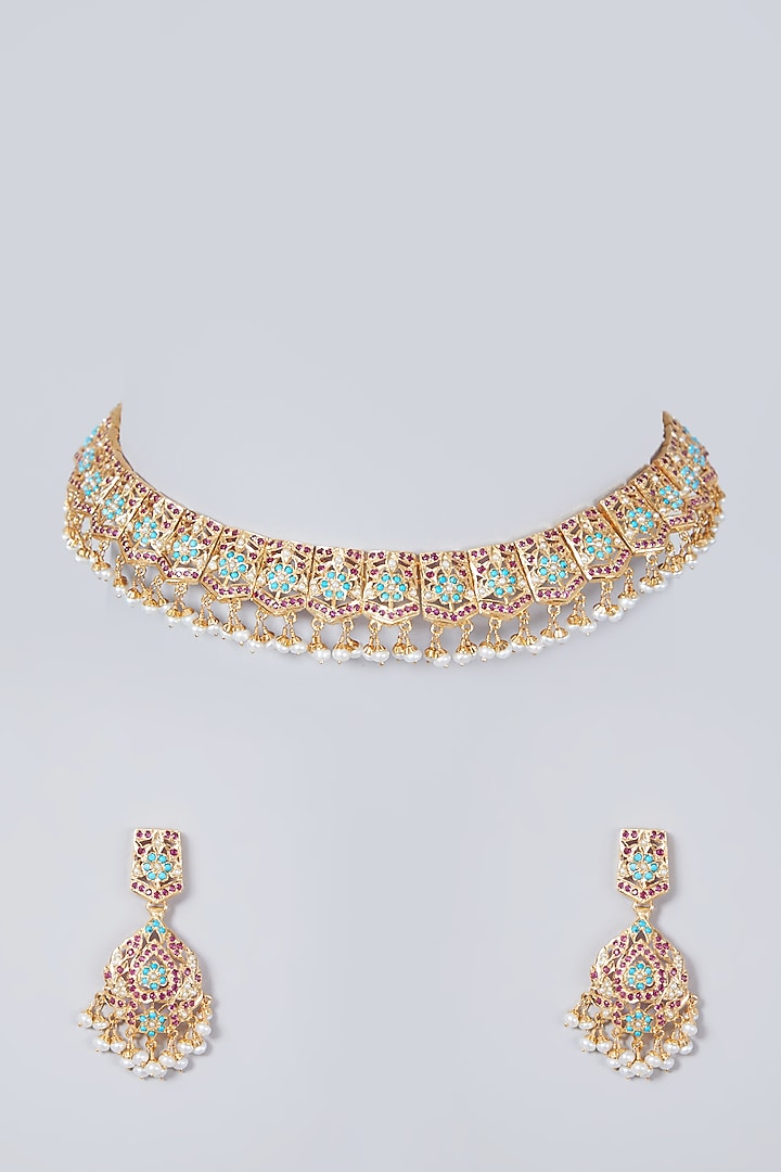 Gold Plated Pearl & Beaded Necklace Set In Sterling Silver by Rudradhan
