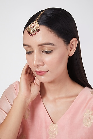 Gold Plated Pearl & Red Stone Maang Tikka In Sterling Silver by Rudradhan