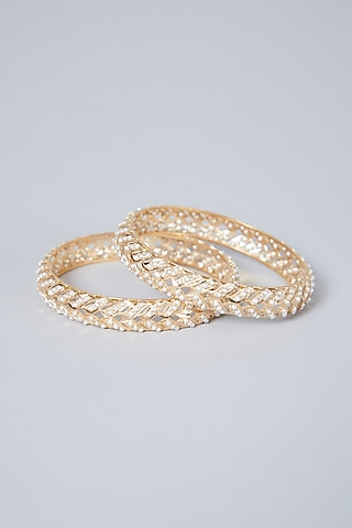 Gold Plated Pearl Fishbone Pattern Bangles In Sterling Silver by Rudradhan