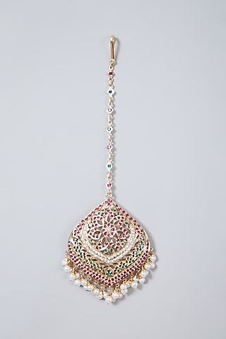 Gold Plated Pearl & Stone Maang Tikka In Sterling Silver by Rudradhan