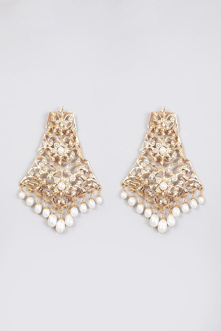 Gold Plated Pearl Dangler Earrings In Sterling Silver by Rudradhan