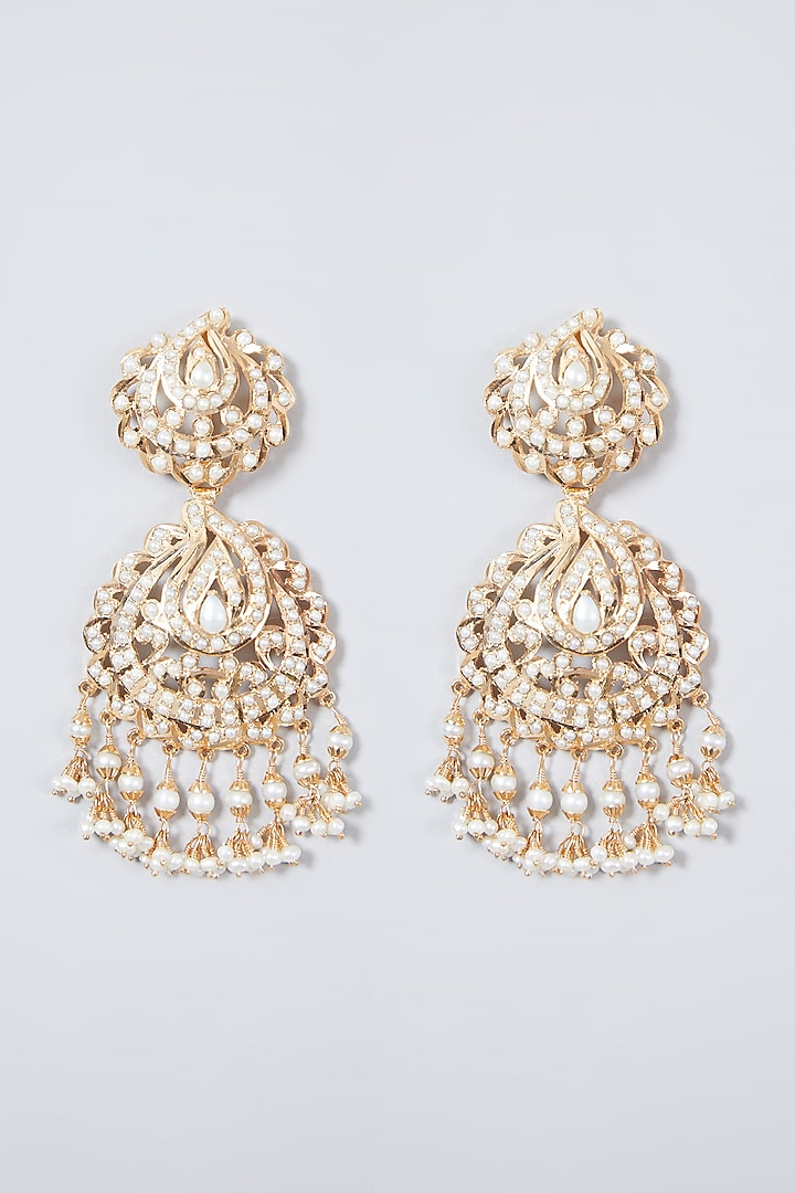 Gold Plated Beaded Handcrafted Earrings In Sterling Silver by Rudradhan