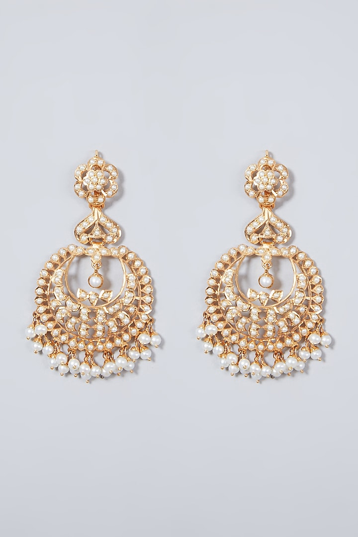Gold Plated Pearl Chandbali Earrings In Sterling Silver by Rudradhan