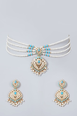Gold Plated Pearl Mala Necklace Set In Sterling Silver by Rudradhan