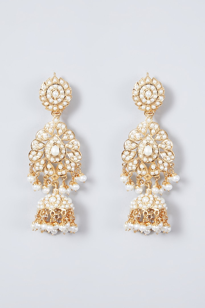 Gold Plated Beaded Jhumka Earrings In Sterling Silver by Rudradhan