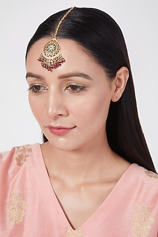 Gold Plated Pearl Maang Tikka In Sterling Silver by Rudradhan