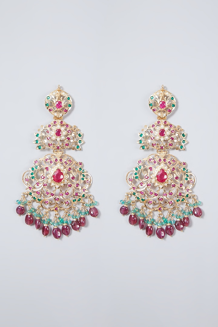Gold Plated Pearl Handcrafted Oversized Earrings In Sterling Silver by Rudradhan