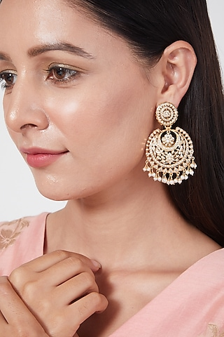 Gold Plated Handcrafted Chandbali Earrings In Sterling Silver by Rudradhan