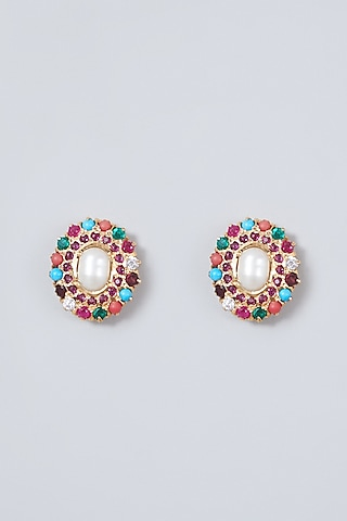 Gold Plated Pearl Stud Earrings In Sterling Silver by Rudradhan