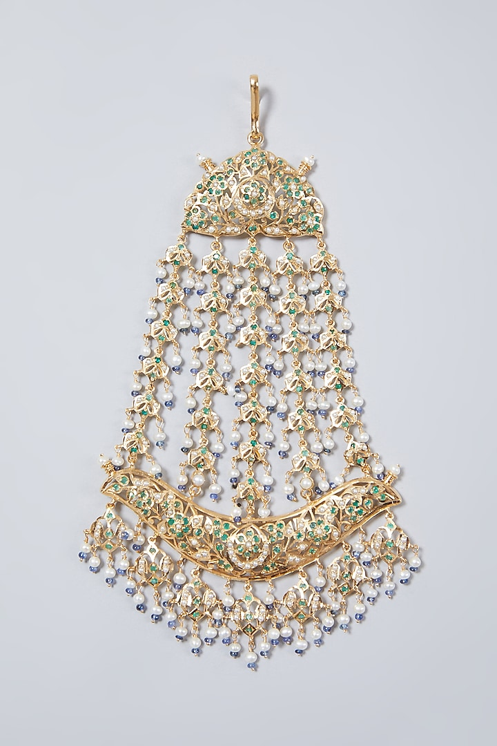 Gold Plated Pearl Pasa In Sterling Silver by Rudradhan