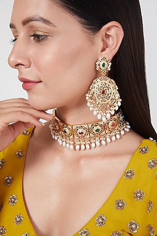 Gold Plated Navratan Choker Necklace Set In Sterling Silver by Rudradhan