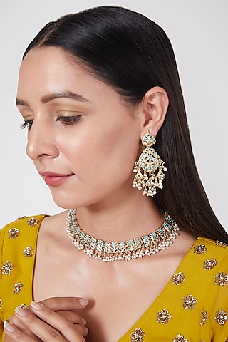 Gold Plated Turquoise Stone Necklace Set In Sterling Silver by Rudradhan