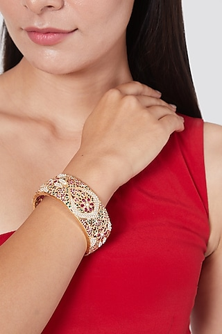 Gold Plated Stone & Pearl Bangles In Sterling Silver by Rudradhan