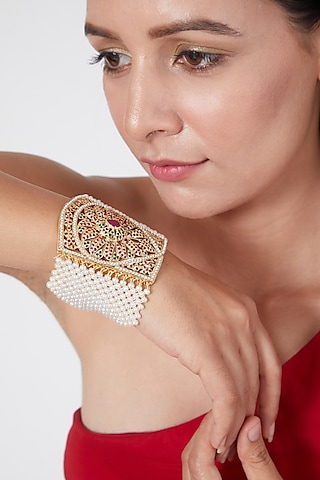 Gold Plated Stone & Pearl Bracelet In Sterling Silver by Rudradhan
