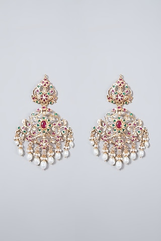 Gold Plated Emerald & Ruby Earrings In Sterling Silver by Rudradhan