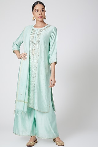 Sky Blue Embroidered Kurta Set by Ruh Clothing