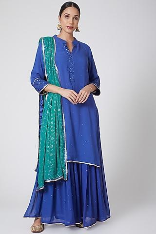 Royal Blue Embroidered Sharara Set by Ruh Clothing