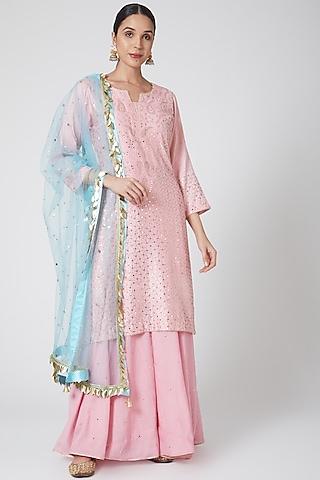 Pink & Ferozi Embroidered Sharara Set by Ruh Clothing