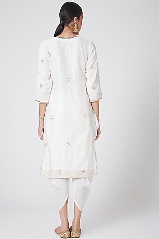 White Embroidered Kurta Set by Ruh Clothing