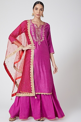 Purple Embroidered Sharara Set by Ruh Clothing
