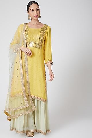 Yellow Embroidered Sharara Set by Ruh Clothing