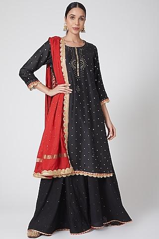 Black Embroidered Sharara Set by Ruh Clothing