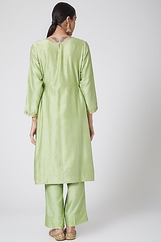 Mint Green Embroidered Kurta Set by Ruh Clothing