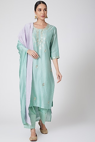 Blue Embroidered Kurta Set by Ruh Clothing