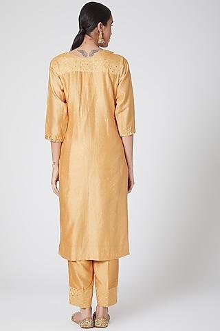 Mustard Embroidered Kurta Set by Ruh Clothing