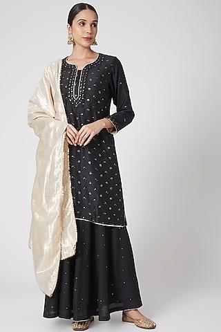 Black Mukaish Embroidered Sharara Set by Ruh Clothing