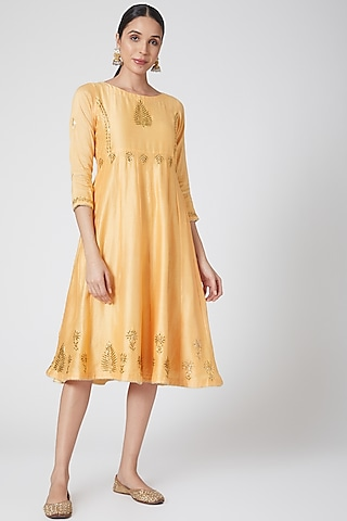 Yellow Mukaish Embroidered Dress by Ruh Clothing